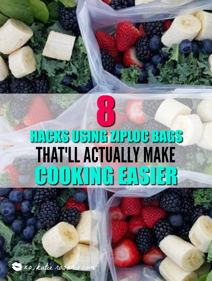 8 Hacks using ziploc bags to make cooking easier. I'm so excited! This is exactly what I have been looking for! Using ziploc bags to make cooking easier is simply genius! I love this post! These ideas helps from meal prep ideas, homemade ice cream, and vacuum sealing meats and produce so I actually save money! Definitely saving for later!