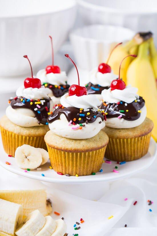 Banana Split Cupcakes Inspired Favorite Desserts