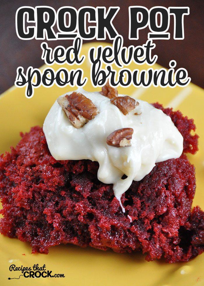 Crockpot Spoon Red Velvet Brownies | Slow Cooker Dessert Recipes