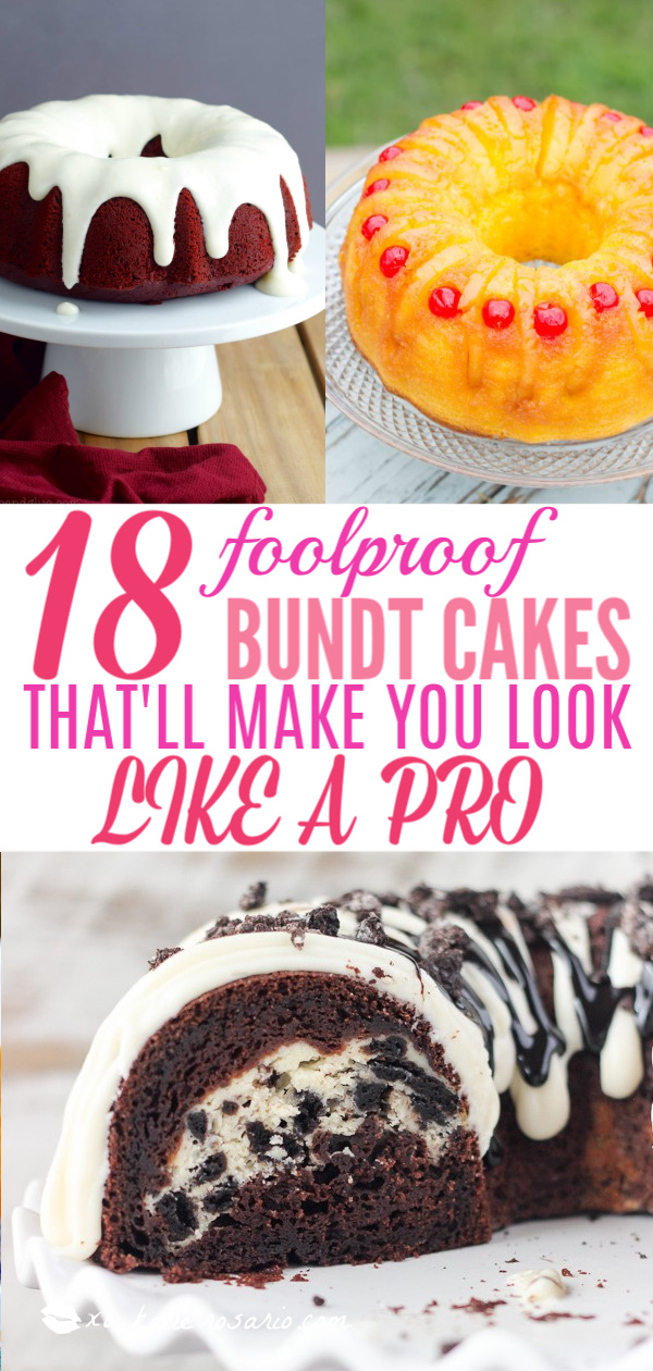 18 Foolproof Bundt Cakes That'll Make You Look Like A Pro   Bundt cakes are simple cakes that are perfect for any beginner baker. They come out beautiful every time. The bundt cake pan was originally designed for a thick, dense cake batter like a pound cake. These bundt cakes are foolproof recipes that are super impressive and taste delicious! So let's get started, here are 18 Bundt Cake Recipes That Anyone Can Make! #xokatierosario #easybundtcakerecipes #bundtcakesrecipes #bundtcakesdecorations