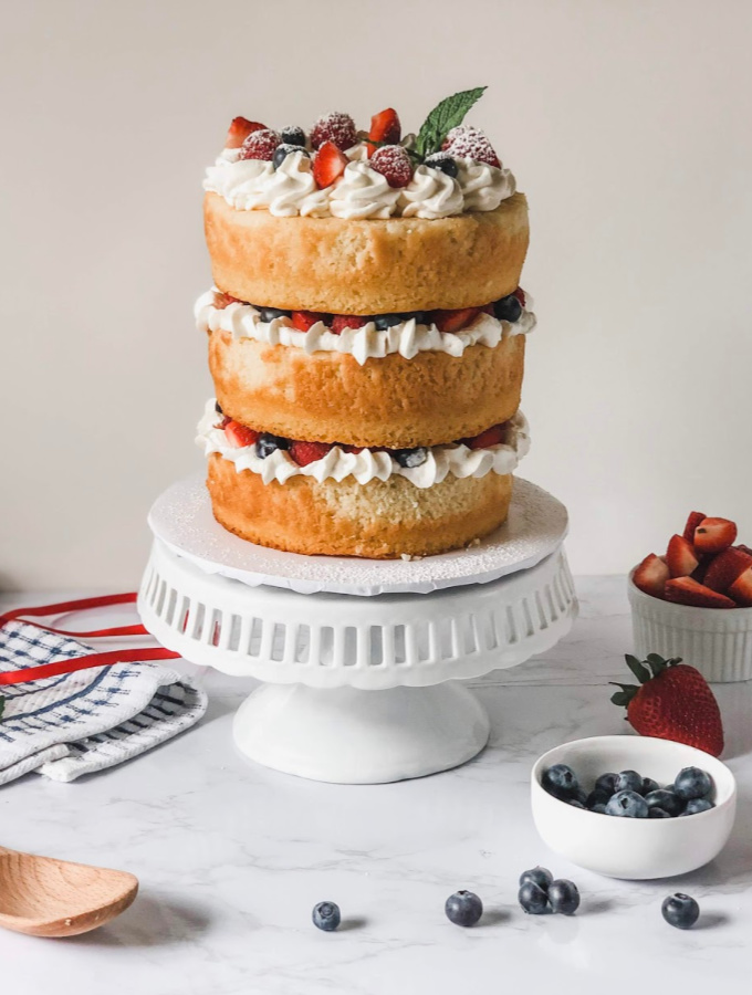 Berries & Cream Champagne Cake