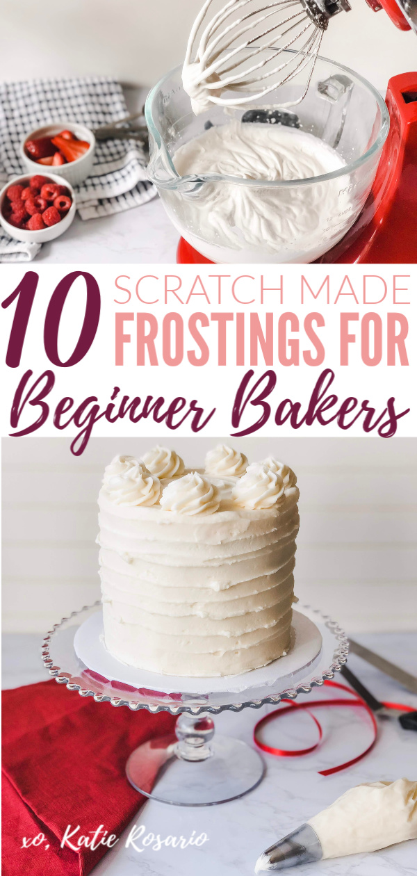 Making frostings from scratch is encouraging for any beginner baker. These frosting recipes are so simple anyone can make them. Frostings are rich and decadent while elevating the overall cake. It's always good to know different frosting recipes when you start cake decorating. These frostings are perfect for piping and making cool designs. #xokatierosario #cakedecoratingideas #frostingrecipes #buttercreamcakes