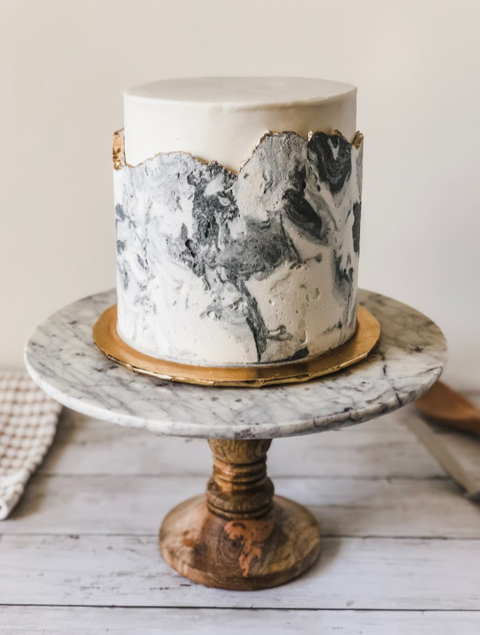 How to Make a Modern Marble Buttercream Cake