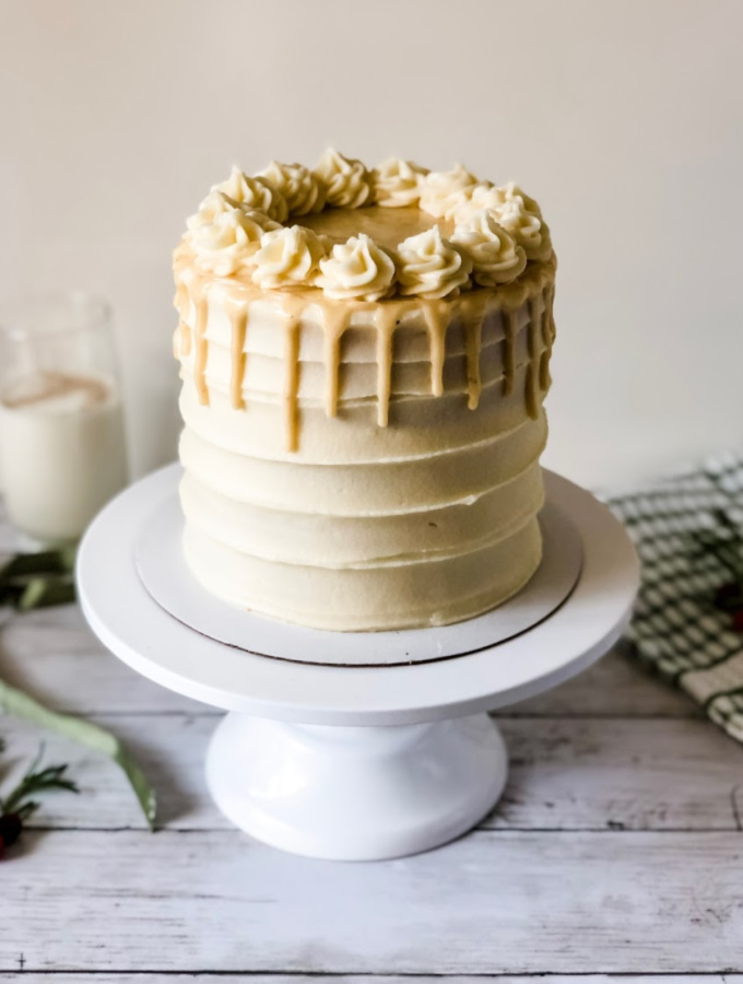 Rum Spiked Eggnog Cake with Cream Cheese Buttercream
