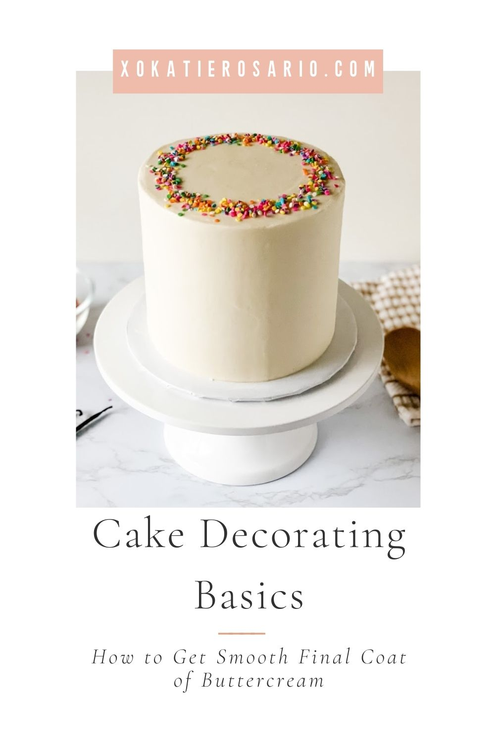 How to Frost a Cake with Buttercream - Step-by-Step Video Tutorial | I'll share the exact steps you'll need to get perfectly smooth sides and sharp edges. I hope that you'll learn from my mistakes and be light years ahead in your decorating journey with this How to Frost Perfectly Smooth Cake tutorial. To see the full tutorial, go to XOKatieRosario.com - see you there! #xokatierosario #katierosariocakes #frostcakes #crumbcoatcakes #cakedecoratingtips