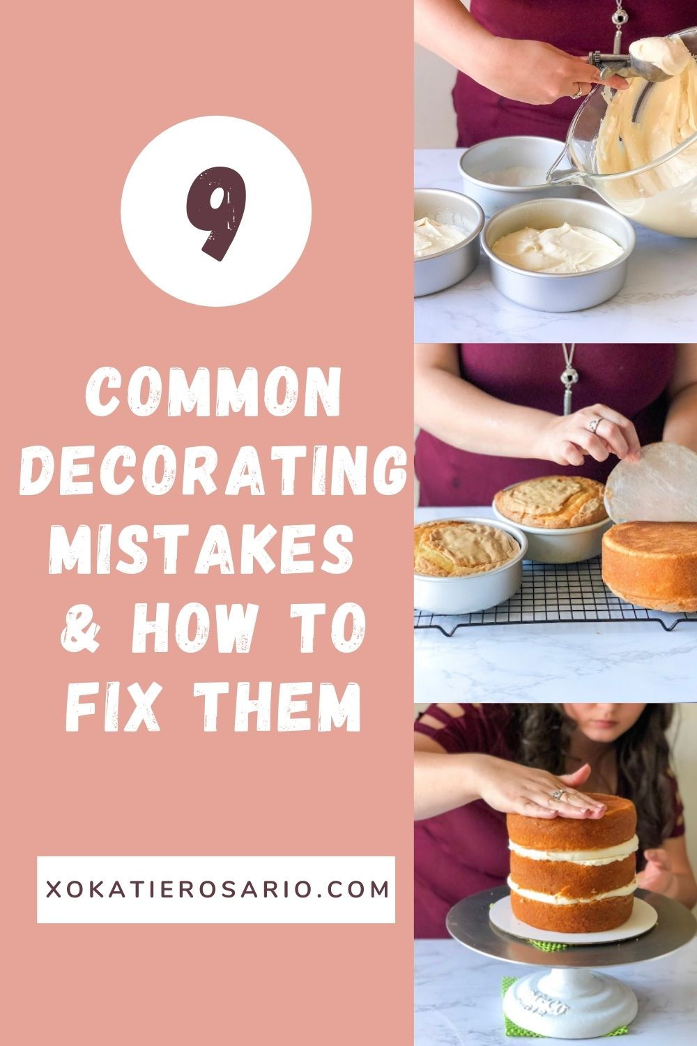 Trying a new recipe or different techniques can also be overwhelming, but you can avoid or prevent mistakes from happening with a solid foundation. Today I wanted to share with you how to avoid these common decorating mistakes. Created by Katie Rosario, XOKatieRosario creates beautiful cake decorating techniques that are easy for beginners and strategically designed for any home baker. #xokatierosario.com #xokatierosario #katierosariocakes #cakeddecoratingtips #commondecoratingmistakes