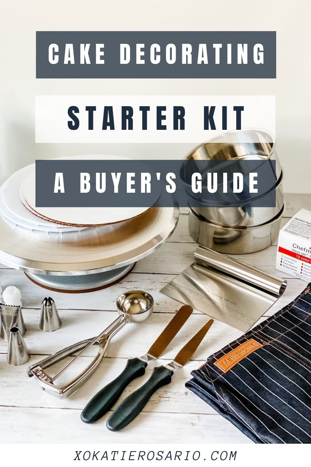 When we learn a new skill, it's nice to know what we need to get started. Learn how to put together your first cake decorating starter kit. Created by Katie Rosario, XOKatieRosario creates beautiful cake decorating techniques that are easy for beginners and strategically designed for any home baker. #xokatierosario.com #cakedecoratingcourse #xokatierosario #katierosariocakes #cakedecroratingtips #cakedecoratingstarterkit #decoratingtoolkit
