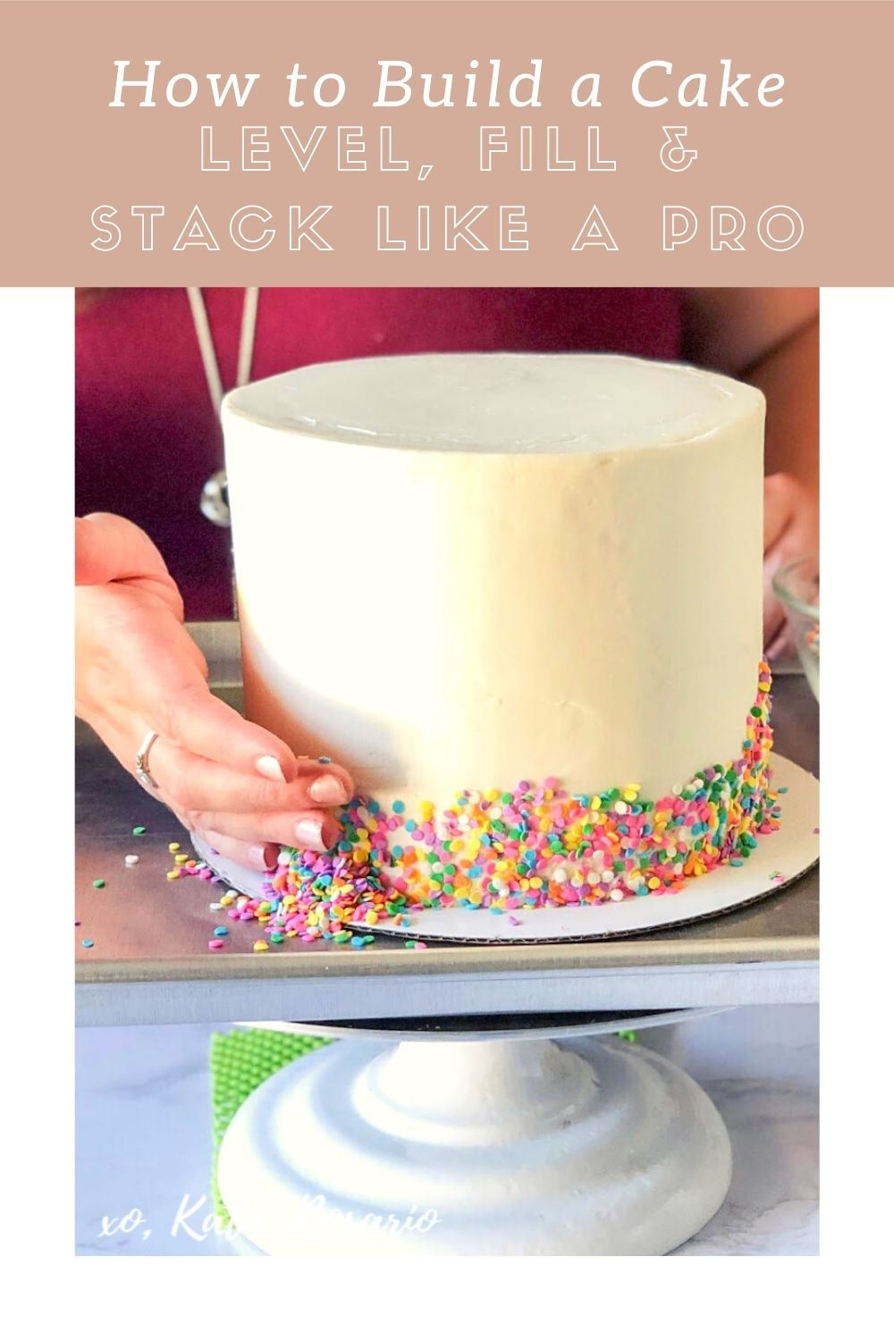 """Building a cake for the first time can be overwhelming, but not anymore. What does """"building"""" mean? Building means making layers of frosting and filling between two or more cake rounds to create an impressive finished product. Read on for tips from my new eBook that will help you start decorating cakes like a pro in no time. Download it now! https://xokatierosario.com/build-cakes-like-a-pro-guide/"""